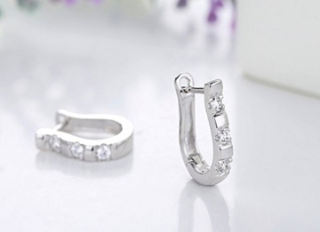 1Paar Chic 925Sterling Silber Lady weiß Edelsteine Damen-Creolen 0489 -