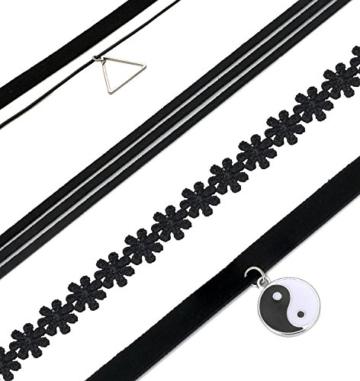 10 Stück Choker Tattoo Spitze Necklace Halsketten Set Halsband Stretch -