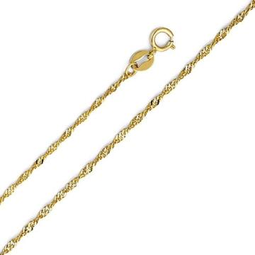 14 Karat / 585 Gold Singapur kette Breite 1 mm Gelbgold Unisex Länge wählbar -