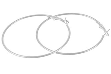 2LIVEfor Ohrringe Creolen Silber Groß 80 mm Ohrhänger -