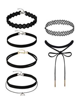 6 Stück Choker Halsketten Set Velvet Halskette Tattoo Halsband Schwarz Halsband -