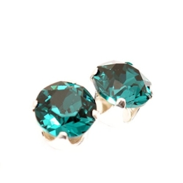 925 Sterling Silber Ohrstecker Ohrringe handgefertigt mit funkelnden Emerald Kristall aus SWAROVSKI®. -