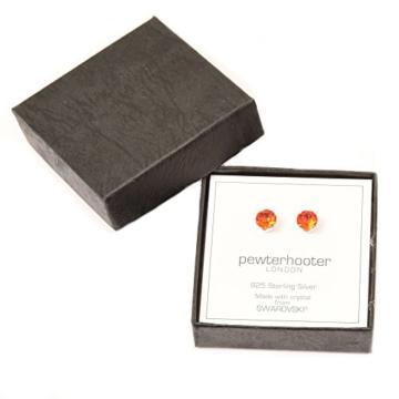 925 Sterling Silber Ohrstecker Ohrringe handgefertigt mit funkelnden Hyacinth Orange Kristall aus SWAROVSKI®. -