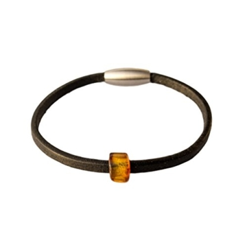 AmberConnections Unisex Naturleder Armband mit Bernstein, 1-reihig, schwarz -
