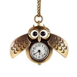 AWStech Lovely Pocket Watch Schön Bronze Silber Tone Eule Quarz Taschenuhr Anhänger mit Länge Kette Halskette, Beste Willkommen Geschenk -