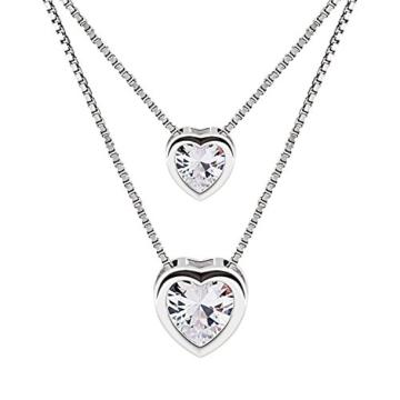 B.Catcher Damen Kette Doppel Herz Halskette 925 Sterling Silber Zirkonia Anhänger Schmuck Geschenk mit Euti -