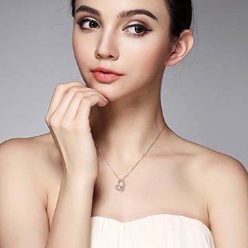 B.Catcher Kette Damen 925 Sterling Silber Zirkonia mit Lebhaft Herz Halskette mit Etui -