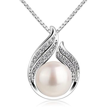 B.Catcher Kette Damen Perle Doppelt Blatt 925 Sterling Silber Halskette Anhänger Schmuck Geschenk -