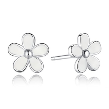 BAMOER 925 Sterling Silber Liebling Gänseblümchen Ohrstecker mit weißen Emaille glänzend CZ -