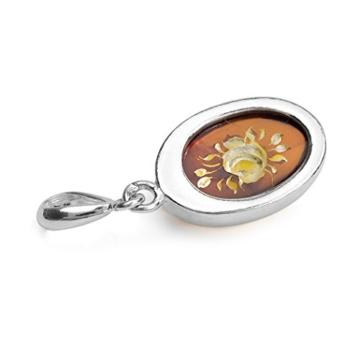 Bernstein Sterling Silber Cameo Blume Oval Anhänger -