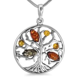 Bernsteinschmuck Lebensbaum Weltenbaum Anhänger 925er Silber Bernstein Schmuck Amulett Medaillon #b1347 -
