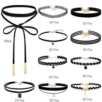 Choker Halsketten, Sportfun 10 Stück Damen Hoker Halskette Velvet Spitze Choker Halsketten Tattoo Punk Gothic Halsband -