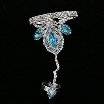 Contever® Vintage Armbänder Armreif Bracelet Harness Link mit Ring für Frauen (See-Blau) -