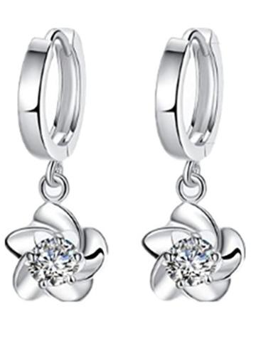 Creolen Damen Mädchen 925er Sterling Silber Elegant Hängende Blumen mit Bling Zirkonia Hypoallergen Clip-On -