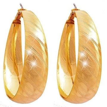 Creolen Damen Ohrringe XL edle gold Creolen Set Designer Schmuck 2Stk Ceolen Stecker 4925 -
