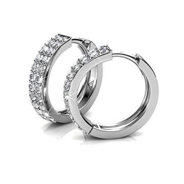 Creolen Ohrringe Zirkonia Ohrstecker kreis Set Basic 925 Silber mit Kristallen von echt Swarovski Geschenk für Geliebte Dame Nickelfreie- YOURDORA -