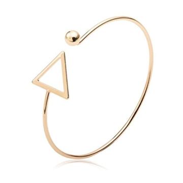 Damen Einzigartiges Modisches Armband Goodsatar Einfacher Armreif mit Dreieck Aus Kupferguss Schmuck für Frau Freundin Mutter (Gold) -