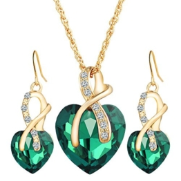 Damen Schön Elegant Legierung Zirkon Kristall Herzförmigen Tropfenohrringe Halskette Schmuck-Sets -