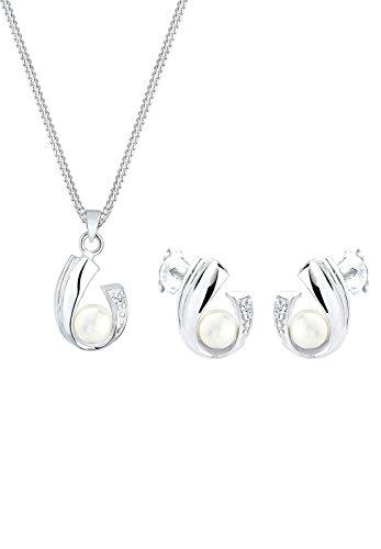 Diamore Damen-Schmuckset Halskette + Ohrringe Brautschmuck (SI2) 0.05ct 925 Silber Diamant (0.05 ct) Brillantschlif Süßwasserzuchtperle Weiß -