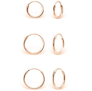 DTPsilver - Damen - Klein Creolen - Ohrringe 925 Sterling Silber und Rosen Vergoldet Set Paare 3 - Dicke 1.2 mm - Durchmesser 8 , 10 , 12 mm -