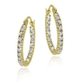 Edle 18mm große Ohrringe / Creolen mit Zirkonia Diamanten, 24 Karat Gold Vermeil -