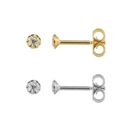 Einzelne Ohrstecker 333 & 585 Gelbgold & Weißgold Ø 3,00mm Diamantiert Unisex Ohrringe NEU (2271) -