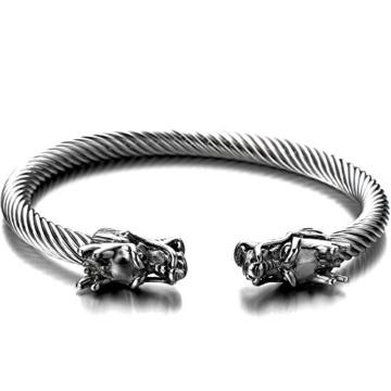Elastische Verstellbare-Einzigartiges Design Drachen Herren Armband Edelstahl Verdrehten Stahlkabel Armreif -