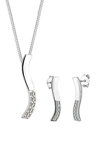 Elli Damen-Halskette + Ohrringe Wellen 925 Sterling Silber Swarovski Kristall grau Brillantschliff 0906982512_45 -
