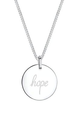 Elli Damen-Kette mit Anhänger Statement-Schriftzug HOPE 925 Silber 45 cm -