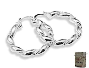 Enez Ohrringe Creolen 925 Sterling Silber plattiert Ø 3,3 cm + Geschenkbeutel (VSCH 422) -