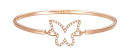 ESPRIT Damen-Armreif JW50219 Rose Schmetterling teilvergoldet Glas weiß 24 cm - ESBA01179C600 -