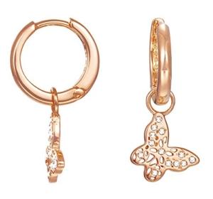 ESPRIT Damen-Creolen JW50219 Rose Ohrringe Schmetterling teilvergoldet Glas weiß - ESCO02073C000 -