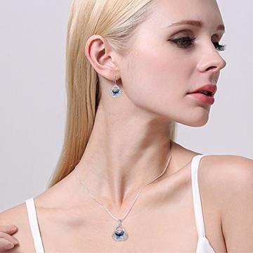 EVER FAITH® 925 Sterling Silber CZ Celtic Schleife Schmetterling Pendant Halskette Ohrringe Set Navy blau geschmuckt mit Kristallen von Swarovski® -