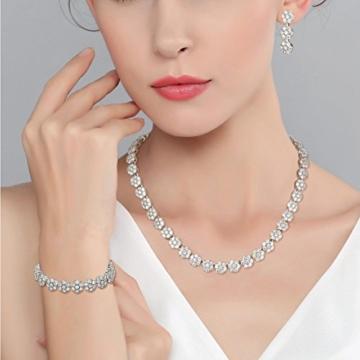 EVER FAITH® Damen 925 Sterling Silber CZ Luxus Romantik Halskette Ohrringe Armband Set klar -