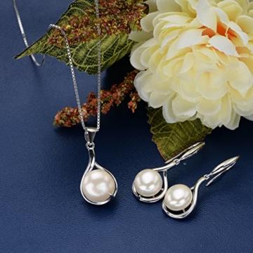 EVER FAITH® Lady 925 Sterling Silber Süßwasser kultivierte Perle Elegant Tropfen Halskette Ohrringe Set -