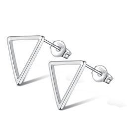 Fashmond Ohrstecker Ohrschmuck Dreieck aus 925 Sterling Silber Weihnachten Geschenke für Mädchen Damen Kinder Frauen Jungen Männer Herren -