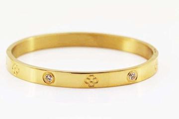 findout Damen 14K Roségold vergoldet Titan Stahl Ewigkeit Ring Armband, Frauen Mädchen, (f1393) (yellow gold plated) -