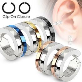 FORESTEEL Schmuck Paar chirurgischer Edelstahl 316L Halb Farbe IP Nicht Piercing Clip On runde Ohrringe (blau) -