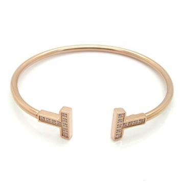Foxnovo Frauen Girls Crystal Diamante verstellbare Armband Armreif (Rotgold) -