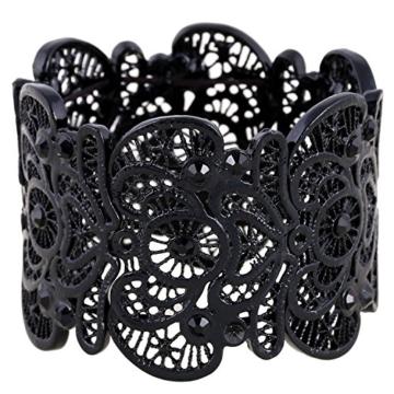 Für immer & Moment Vintage Metal Filigree Stretch Armreif Armband Für Frauen 20 cm(Schwarz) -