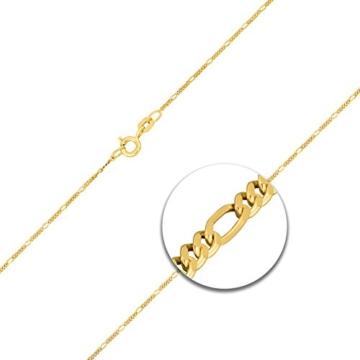 Goldkette, Figarokette diamantiert aus Gelbgold 585 / 14 Karat, Breite 1.1 mm, mit Federring, die Länge ist frei wählbar. NEU -