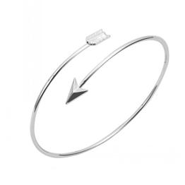 GOOD.designs modischer Damen Pfeil-Amreif / Armband aus plattierter Kupferlegierung in 18k-Gold oder Silber (Silber) -