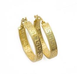 Griechische Schlüssel Ohrringe Creolen Gelbgold Aus 14 Karat / 585 Gold ( 3 x 30 Ø mm ) - PR143 -