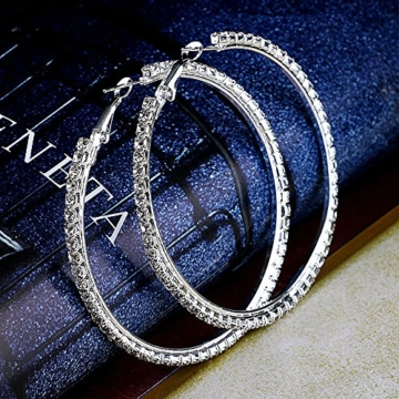 Große Strass Creolen Ohrringe Ohrhänger Ohrschmuck Silber Rund 4 cm -