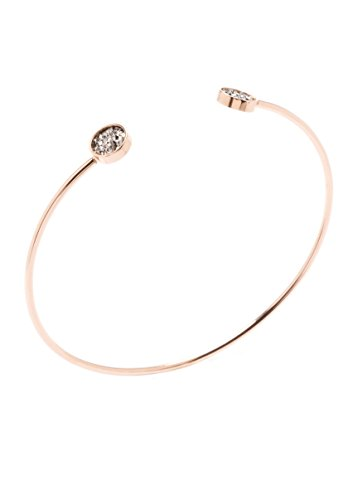 Happiness Boutique Damen Cuff Armband in Rosegold | Offener Armreif mit Schmucksteinen in Minimalist Design nickelfrei -