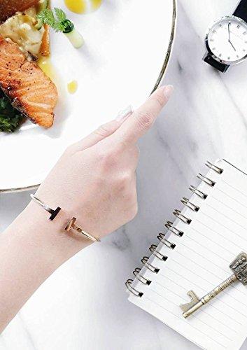 Happiness Boutique Damen Offener Armreif Gold Titan   Armband Minimalist Armschmuck für Frauen -