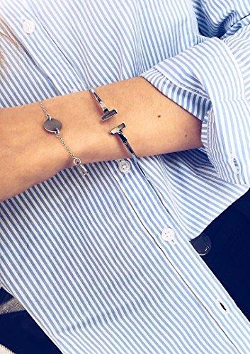 Happiness Boutique Damen Offener Armreif Silberfarbe Titan | Armband Minimalist Armschmuck für Frauen -