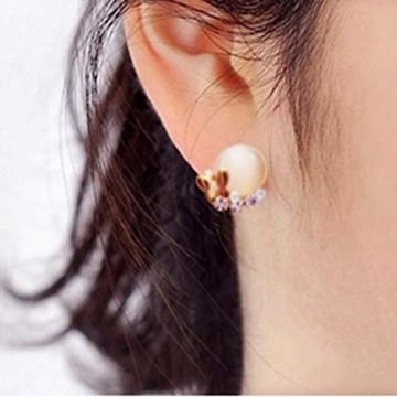 HuntGold 1 Paar süße Diamante Schmetterling Dazzling Katzenauge Ohrstecker Ohrringe -