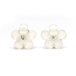 Idin Kinder Ohrclips - Weiße Blumen mit Strass (Größe: ca. 16 x 16 mm) -