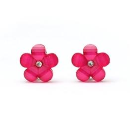 Idin Ohrclips - Blumen in Pink mit Strassstein und Kristalleffekt (ca. 17 x 17 mm) -